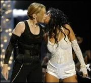 Aguilera and Madonna during a performance at the 2003 MTV Video Music Awards