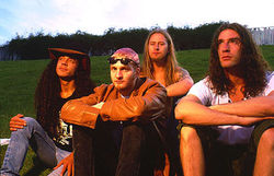 From left to right: Mike Inez,( replaced Mike Starr in 1993) Layne Staley, Jerry Cantrell, and Sean Kinney
