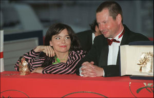 Björk Guðmundsdóttir and Lars von Trier at the 53rd Cannes Film Festival on May 21, 2000.