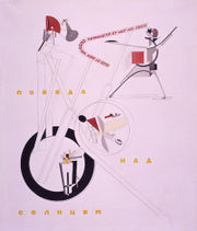El Lissitzky's poster for the modernist opera Victory over the Sun (1923).