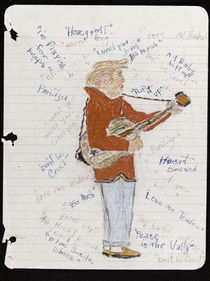 A hand drawn picture of Elvis Presley made by Jimi Hendrix at the age of 15.