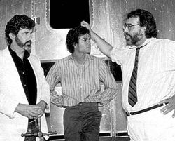 George Lucas, Michael Jackson and Francis Ford Coppola on the set of Captain EO