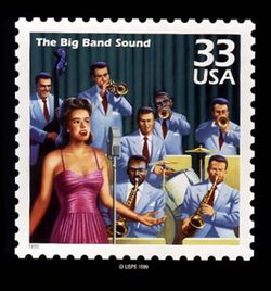 This USPS stamp recognizes big band's popularity in the 1940s