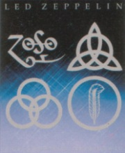 The 4 symbols each standing for a Led Zeppelin member. From left to right: (Top) Jimmy Page, John Paul Jones, (Bottom) John Bonham, Robert Plant.