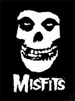 The Misfits' canonical skull graphic was lifted from the 1946 television serial, The Crimson Ghost, while the typeface is from the 1950s-'60s magazine, Famous Monsters of Filmland.