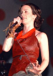 Alanis Morissette on stage at the Brazil Music Festival, 2003