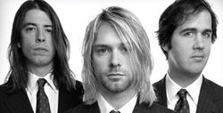 Left to right: Dave Grohl, Kurt Cobain, Krist Novoselic