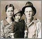 Young Elvis with his Mother Gladys and Father Vernon.
