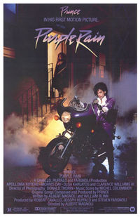 The original theatrical poster for Purple Rain (1984).