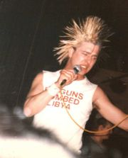 An example of an extreme punk hairstyle, as worn by Colin Jerwood of Conflict
