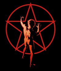 "The ""starman"" logo (by artist Hugh Syme) first appeared on the back cover of the 1976 album, 2112. Neil Peart explained in 1982, ""All it means is the abstract man against the masses. The red star symbolizes any collectivist mentality."""