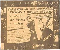 Promotional flyer for an early Sex Pistols gig