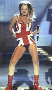 Geri Halliwell, wearing the iconic union jack dress, on stage at the Brit Awards 1997