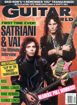 Vai (right) on the cover of the April 1990 issue of the Guitar World magazine with Joe Satriani.