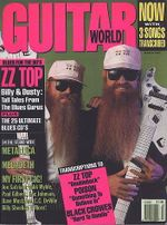 ZZ Top on the cover of the March 1991 issue of the Guitar World magazine.